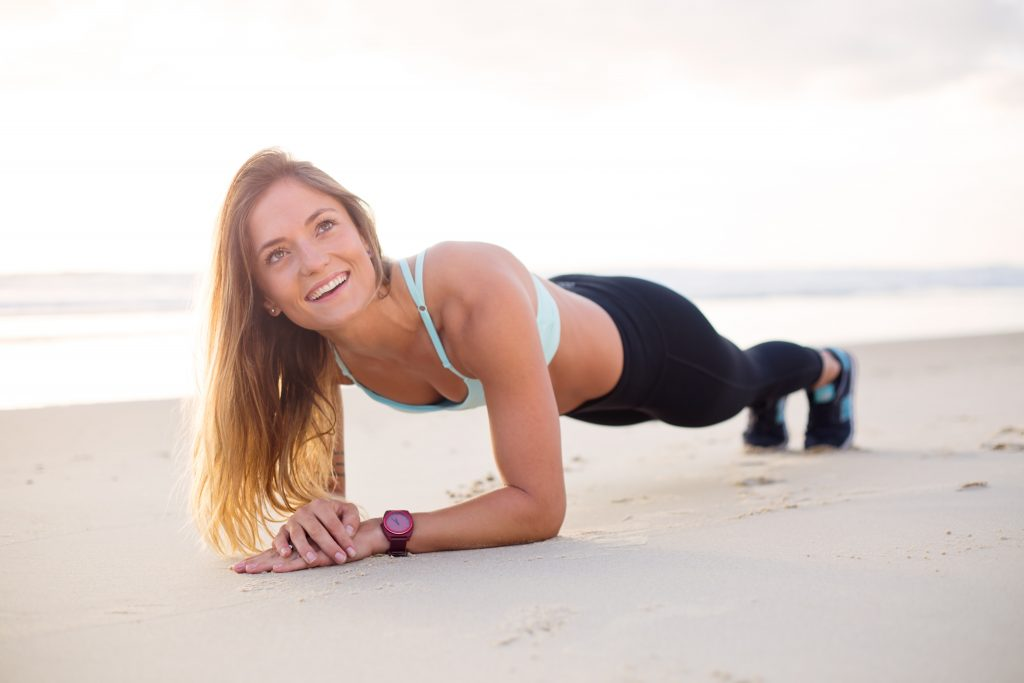 beach blond hair exercising