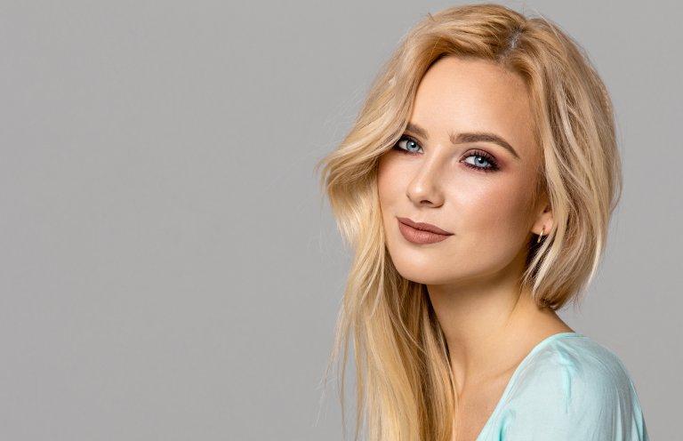 Portrait of blond female model